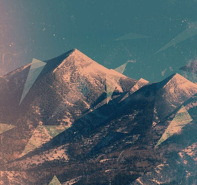 Triangles masterfully complement the sharp mountain peaks. Design by Lena Smirnova.