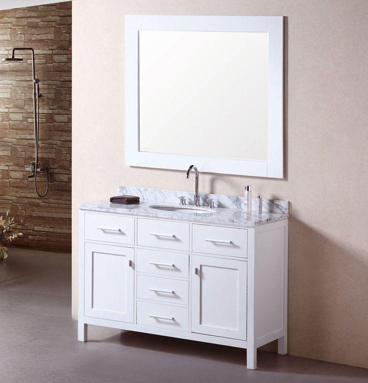 48 Inch Traditional Single Sink Bathroom Vanity Carrera White Top