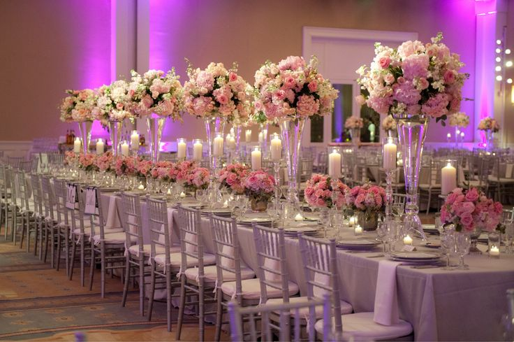 Romantic pink centerpieces randy and april wedding for Glass tables for wedding reception