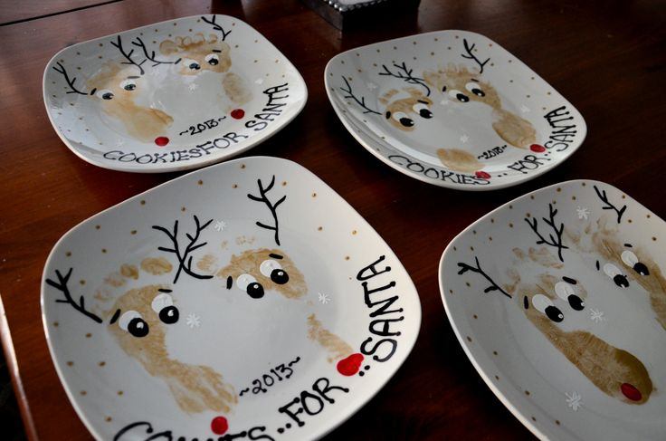 "Golden Reindeer feet ""Cookies for Santa"" Plates"