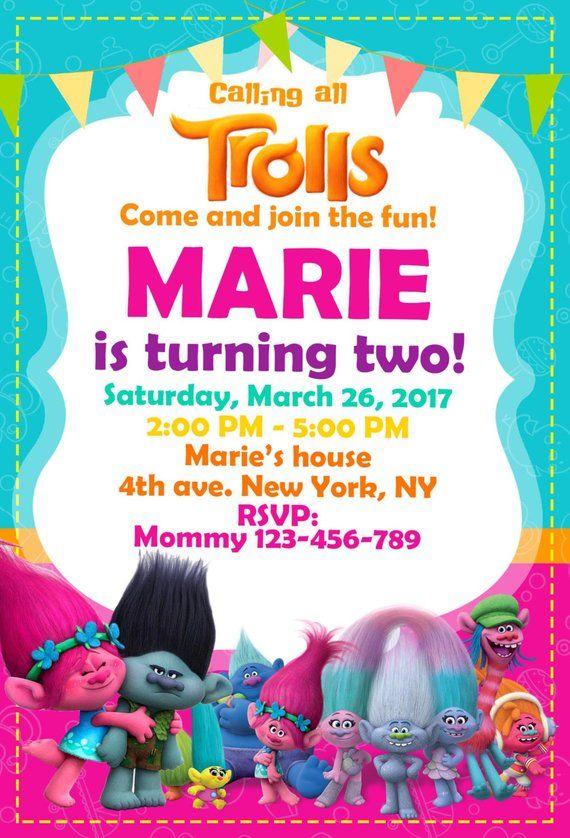 Trolls Birthday Invitation Digital Party Poppy