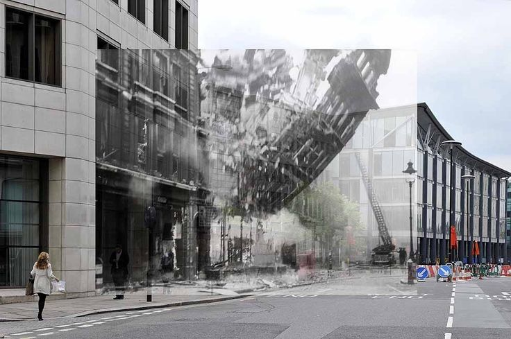 Bomb damage at number 21 Queen Victoria street, 1941. | 18 Photos Of London's Past, Blended With Its Present
