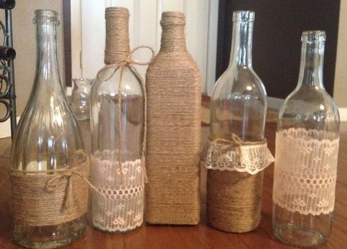 old bottles with burlap and lace