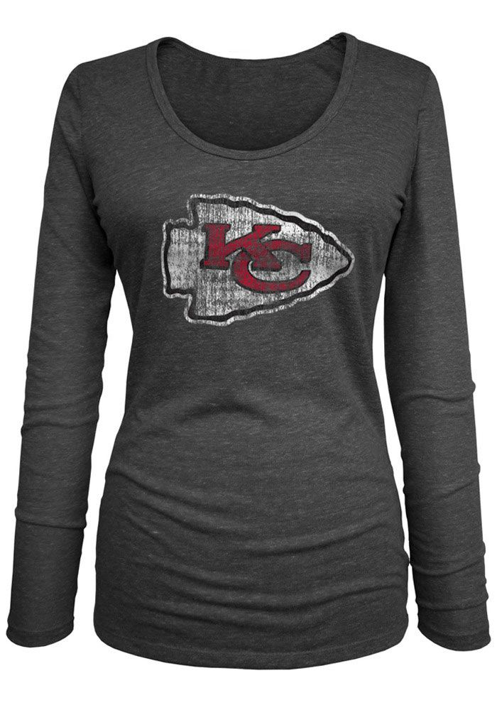 18642fd48 Kansas City Chiefs Womens Black Tri-Blend Long Sleeve Women s Scoop - Image  1