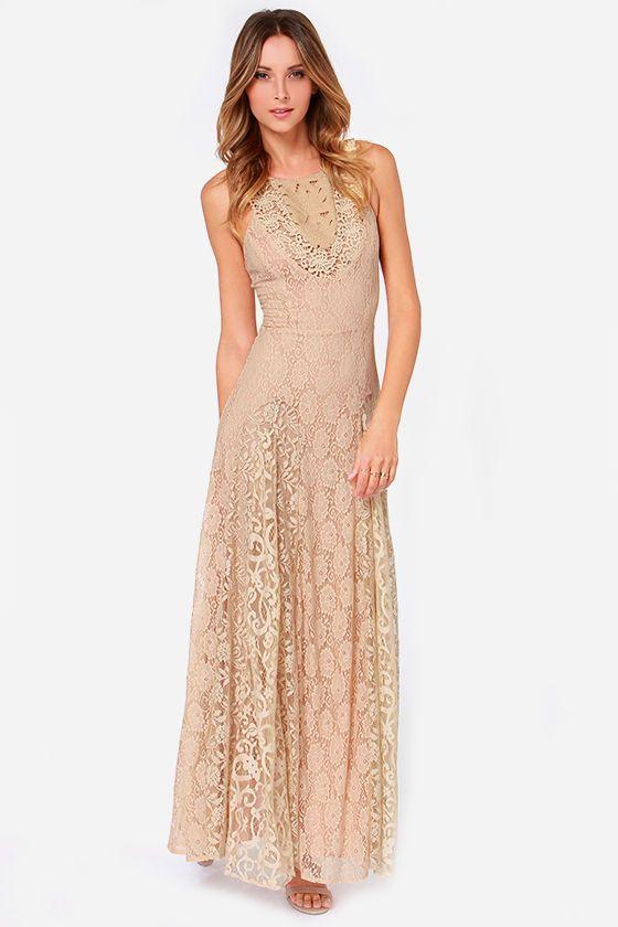 Tea Rose Beige Lace Maxi Dress