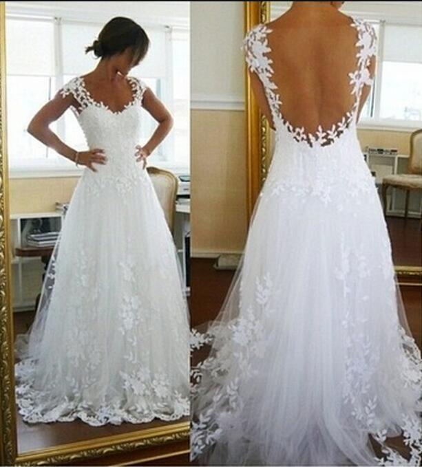 White Lace Wedding Dress, Long Formal Gown Elegant