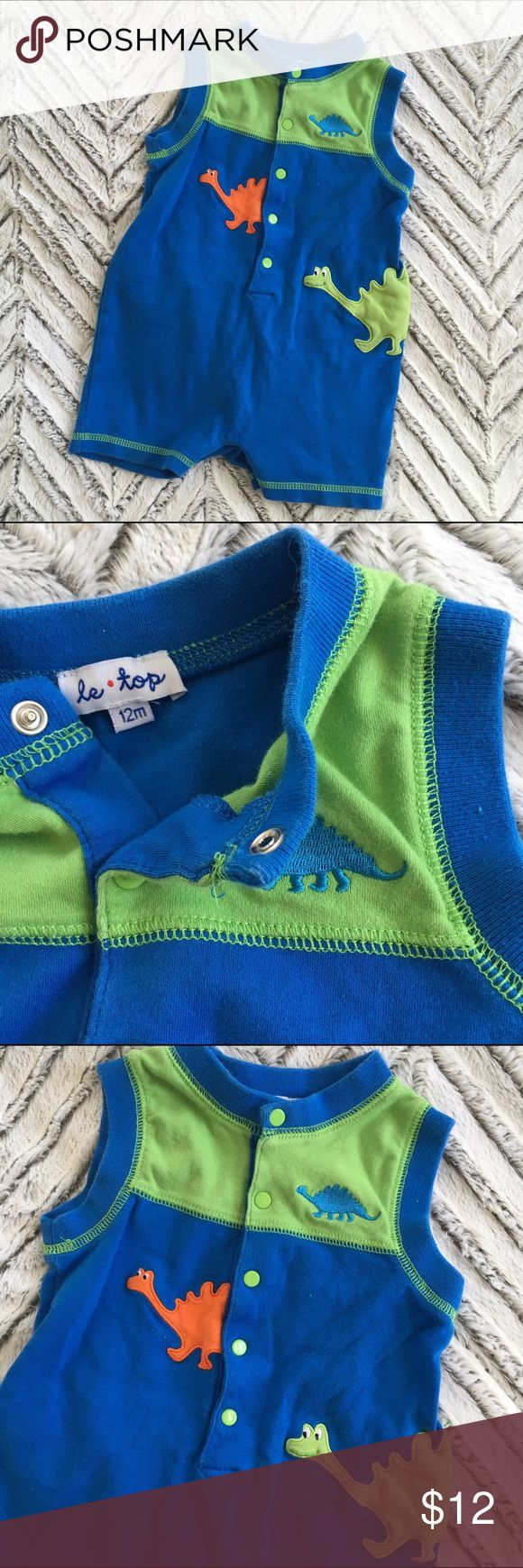 ⭕️ 12m Le Top Blue Dinosaur Romper Le Top blue Embroidered dinosaur romper. Snap closure. In very good pre-owned condition!               2 for $15  3 for $20  4 for $25  5 for $30  ANY kids' and womens' items marked ⭕️ are eligible!  BUNDLE THEM UP > > > MAKE OFFER! Le Top Bottoms Jumpsuits & Rompers