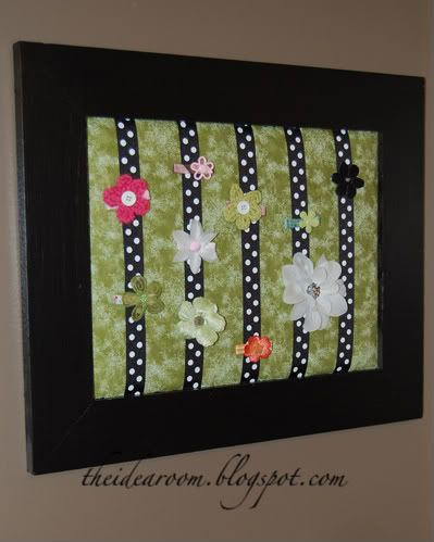 All I had on hand was a canvas and some ribbon, so we made one using that - looks just like this one, but picture a white canvas and different kinds of orange/red/yellow/burgundy kinds of ribbons!