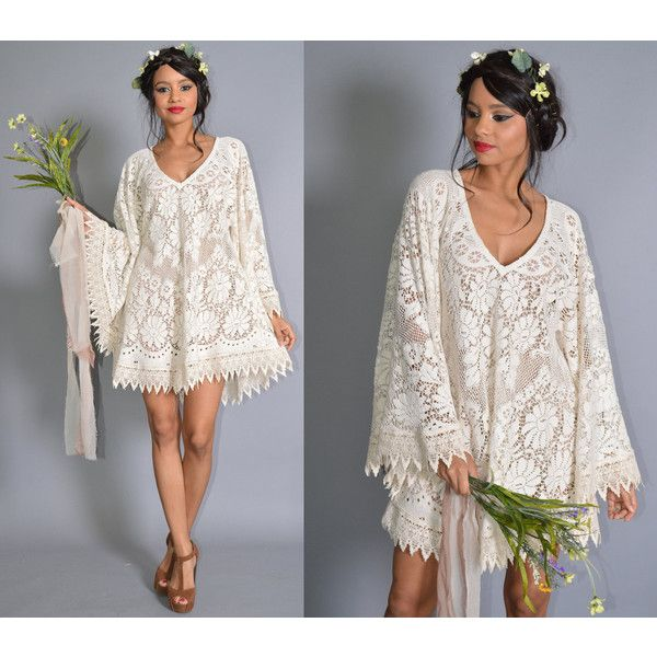 Angel Sleeve Sheer Icicle Lace Trim v Neck Hippie Boho Festival... ($138) ❤ liked on Polyvore featuring dresses, silver, women's clothing, bridal dresses, see-through dresses, bohemian bridesmaid dresses, cream bridesmaid dresses and bridesmaid dresses