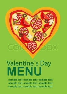 Vector of 'Pizza Menu Template on Valentine`s Day, vector illustration'
