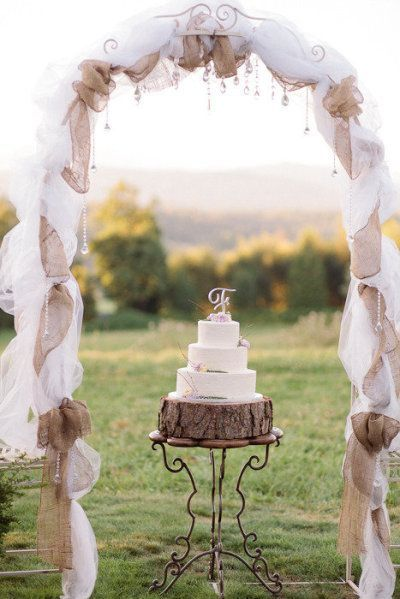 rustic burlap and tulle wedding arch                                                                                                                                                                                 More
