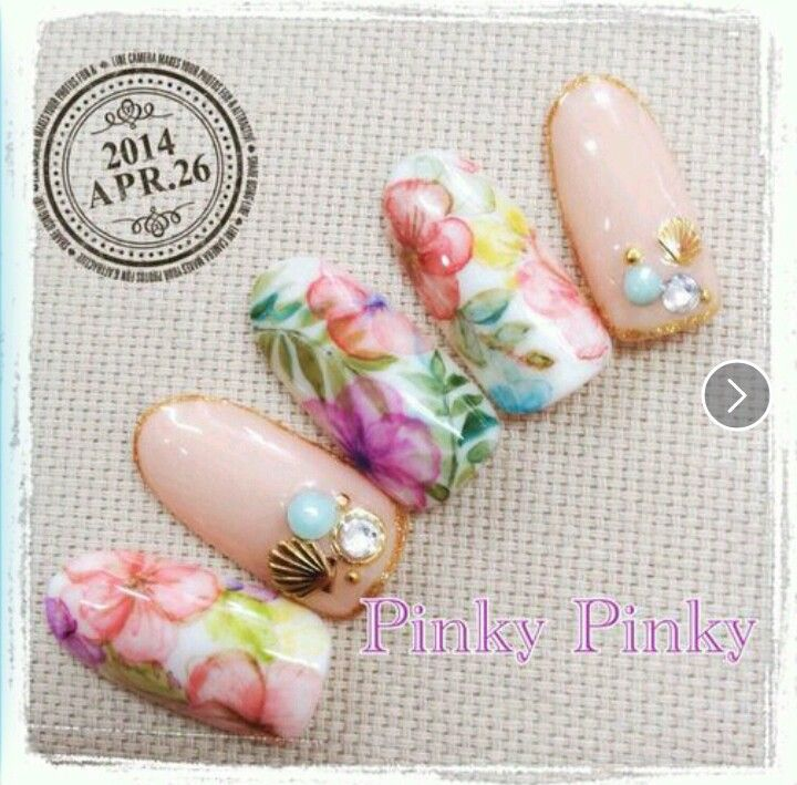 Hawaiian nails. Spring & summer nail art. Flowers, embellishments, seashells