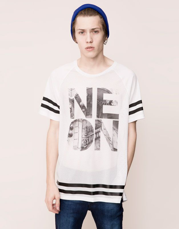 Pull&Bear - homme - t-shirts - t-shirt print manches courtes - blanc -