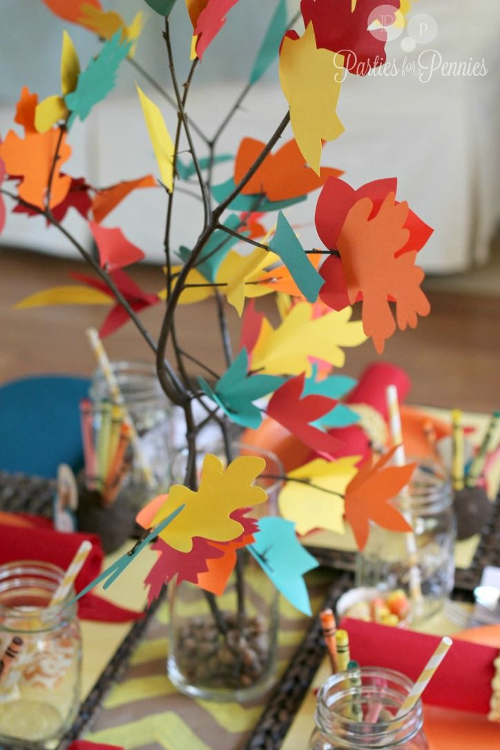 Kids thanksgiving table thankful tree centerpiece by
