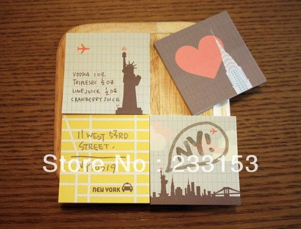Free Shipping City Figure Stickers Sticky Memo Pad Office Stickers Short Note Students Supplies 8 Sets One Lot $10.00