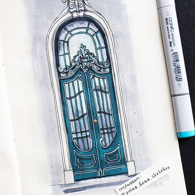 This door is located in Lviv, UkraineSo beautiful so I couldn't help drawing it