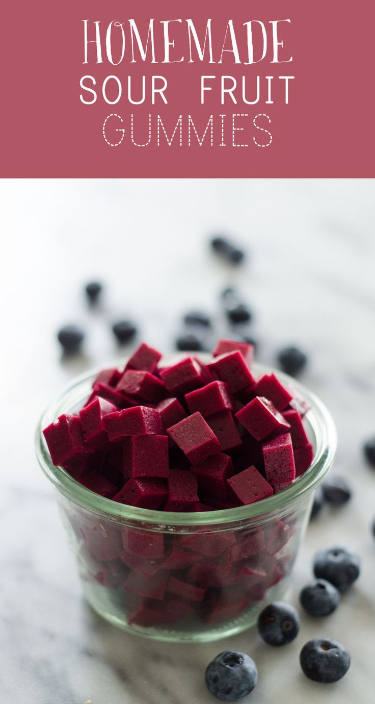 Homemade Sour Fruit Gummies - a great snack for kids, and it only takes 4 ingredients!