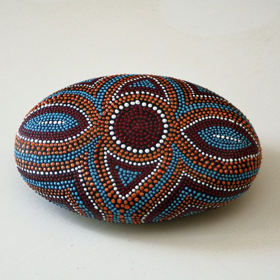 The Victorians were masters of symmetric jewelry designs that showed off precious gems and mementos. Showcase your favorite jewel tones and coordinate room colors. This rock will be around 5-6 inches at the widest point and is sealed with interior/exterior polyurethane. Every rock is signed and numbered.   *This rock is made to order and will differ slightly in size, weight as well as the design due to the features and texture of each unique rock. *    Add a dot of color to your day with a…