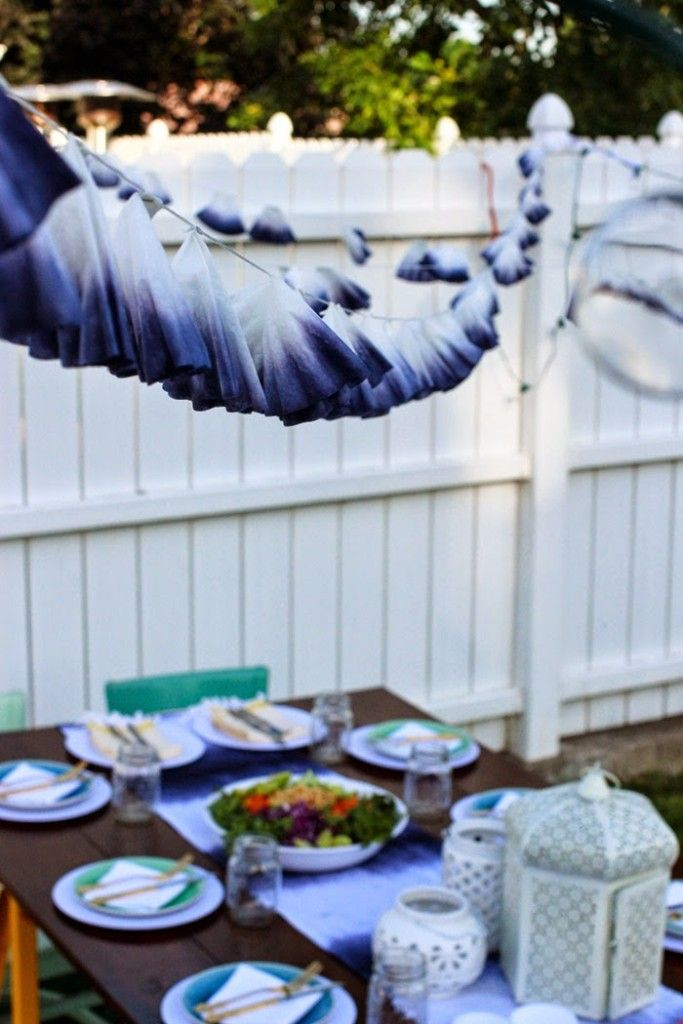 Dip Dye Coffee Filter Garland | Staple dyed filters to string for a pretty summer garland
