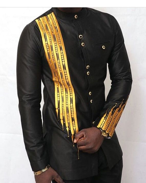 Items similar to Black and gold Men African Fashion Wear; African Clothing; Mens Special occasion Wear; African Print Wear on Etsy
