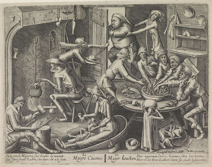Pieter van der Heyden | Magere keuken, Pieter van der Heyden, Hendrick Hondius (I), 1597 - 1649 | Keukeninterieur met magere mensen die aan een tafel mosselen eten. Een man roert in een ketel op het vuur en vooraan geeft een vrouw een kind uit een drinkhoorn te drinken. Boven probeert een dikke man de magere keuken te ontvluchten, terwijl twee magere mensen hem proberen binnen te halen. Onder de voorstelling een tweeregelig vers in het Frans en in het Nederlands.