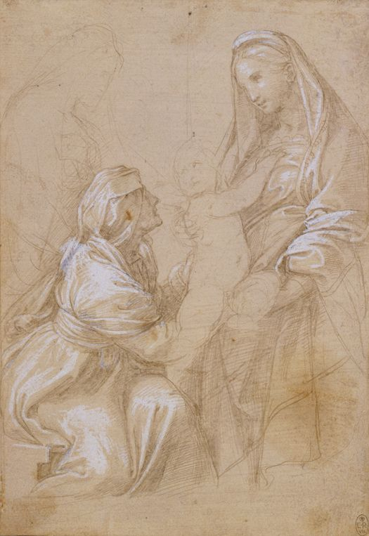 Raffael (Raffaello Santi, 1483-1520), The Virgin and Child with Saint Elizabeth (?) and Two Other Saints, c. 1511 / 1513, Silverpoint heightened with lead white on light brown-grey prepared, beige paper, 210 x 146 mm, The Royal Collection, © Royal Collection Trust / © Her Majesty Queen Elizabeth II 2012