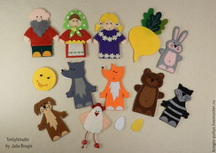 Купить Пальчиковый театр на три сказки - разноцветный, игрушки из фетра, пальчиковый театр, пальчиковые игрушки