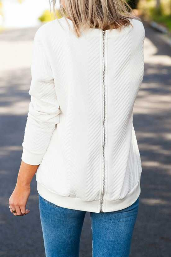 Warm Quilted Womens Jumper Zip Back - Australia Fashion -   Warm quilted white jumper for winter, Features a scoop neck, soft stretch fabric and ribbing at neck, cuffs and hemline.  $50.00