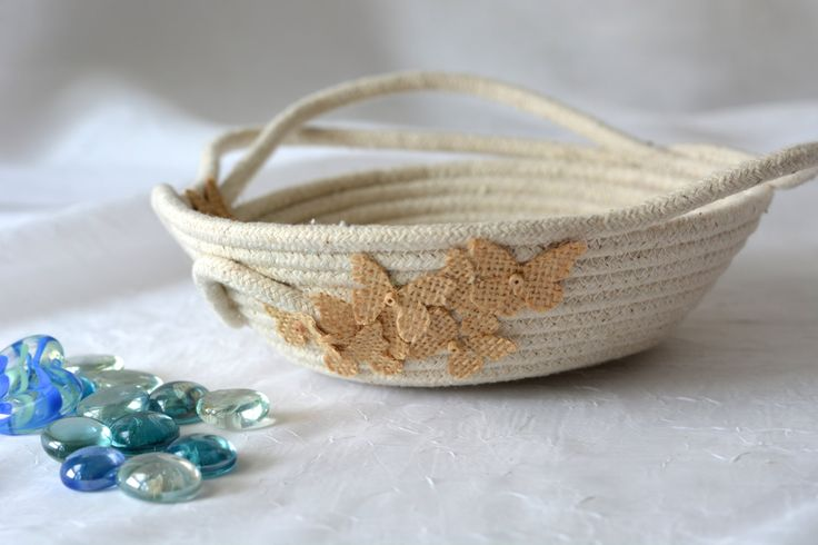 Cute Desk Accessory Bowl, Handmade Butterfly Basket, Modern Clothesline Basket… by Wexford Treasures