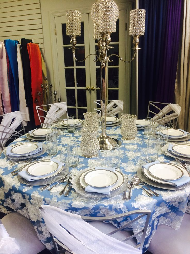 Light Blue Table Ideas. Blue Sheer Peony Linen. Silver Glass Chargers.  Athens China