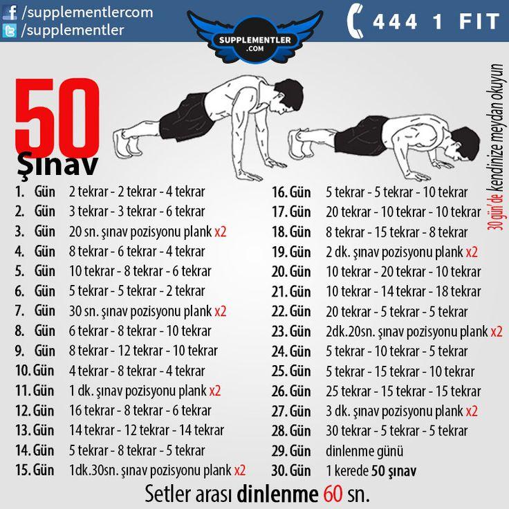Şınav çekmekte zorlanan sporcularımız bu program sayesinde 1 ay içerisinde 50 şınav çekebilecek. #fitness #workout #pushups