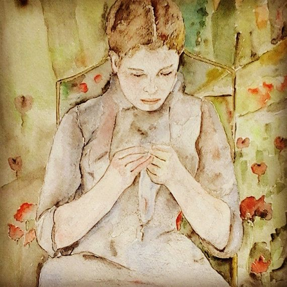 Young Woman in the Garden /Original Painting in by MAramburo