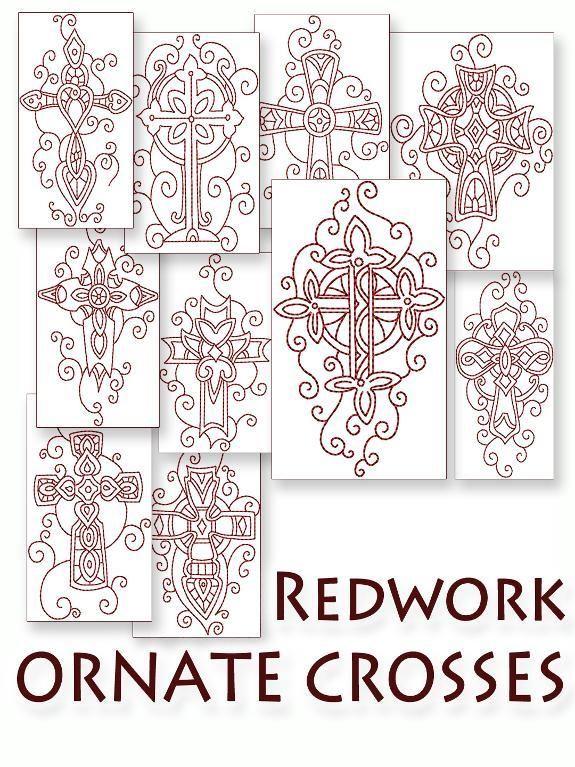 Redwork Embroidery Ornate Crosses_e_0paj - via @Craftsy