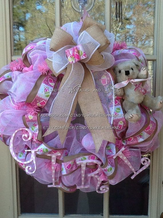 NEW. Baby Girl Wreath Baby Wreath Nursery by Cindyswreathsand,