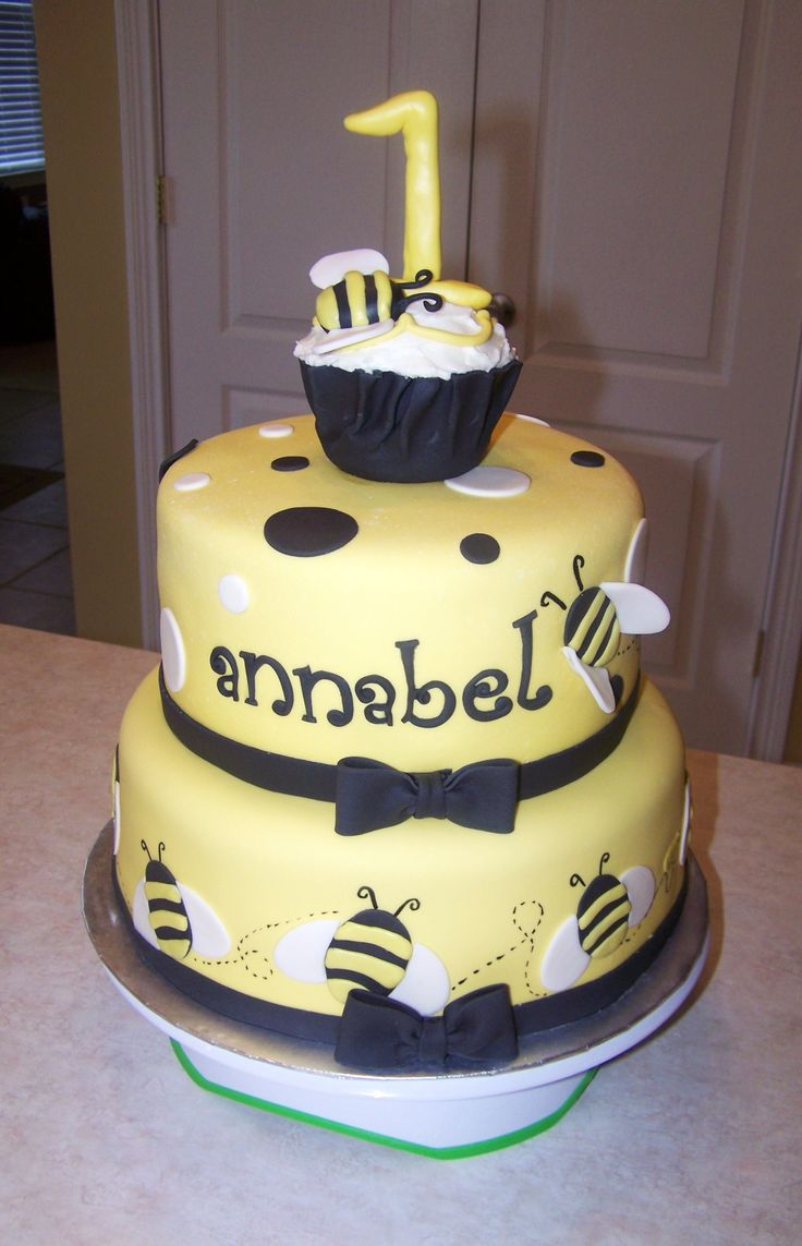 Bumblebee 1st Birthday Cake