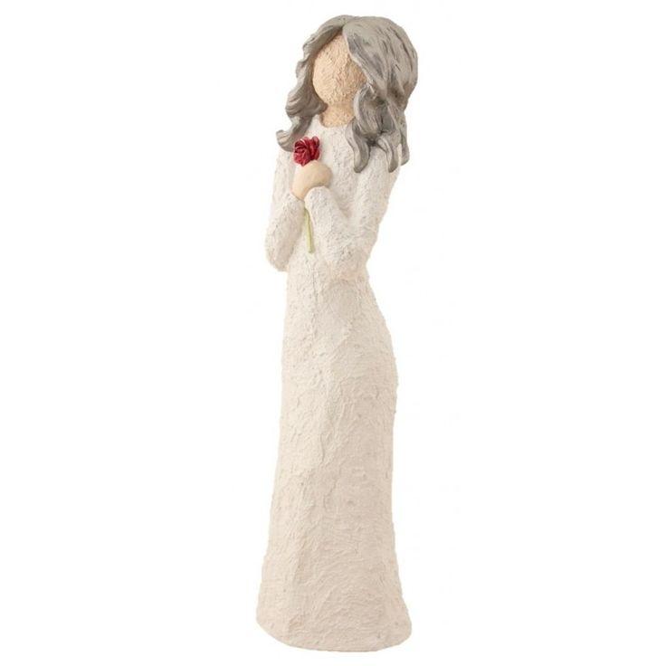 Damefigur Med Rød Rose - Sølv Hår, 33 cm