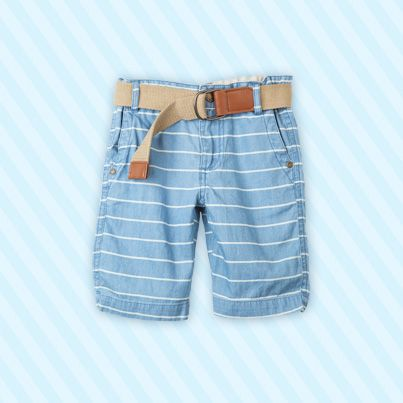 Pumpkin Patch Stripe Chambray Shorts with belt - 100% cotton and available in sizes 12-18m to 6 years http://www.pumpkinpatchkids.com/