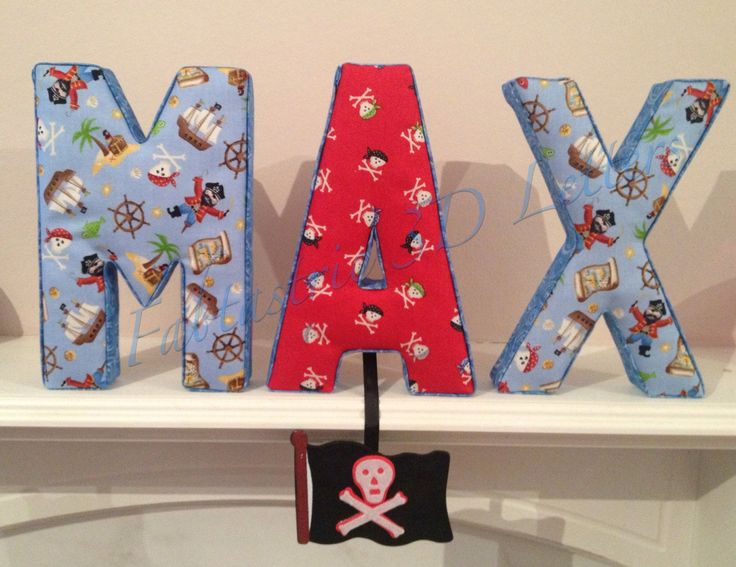 pirate theme fabric covered letters
