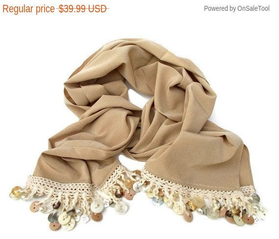 Taupe Scarf with Button Beads Fringe Shawl Scarf Unique Handmade Scarves for Women and Teens Autumn Scarf Head Scarf by Forever Andrea by foreverandrea on Etsy