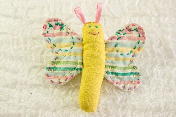 Friendly Butterfly Baby Rattle Soft Toy Baby by heaventoseven, $15.00