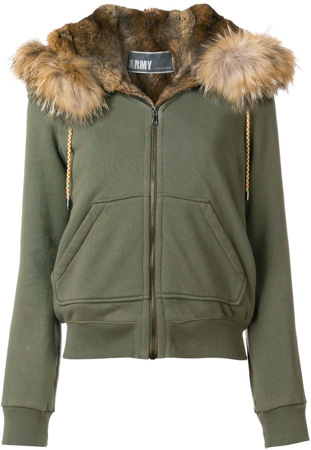 Army Yves Salomon cropped hooded parka