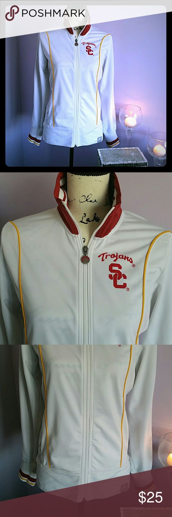 USC TROJANS NIKE TRACK JACKET! Super fun jacket to support your favorite team! Great fabric! Cool red, white and yellow design! Trojans SC graphic! Collar can be worn up or down! Worn with love! Happy Shopping! Nike Tops Sweatshirts & Hoodies