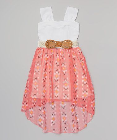 Another great find on #zulily! Coral Western Belted Dress - Girls by Just Kids #zulilyfinds