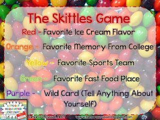 Saddle up for Second Grade: Let's Get Acquainted: Skittles Game {4-15-13 }