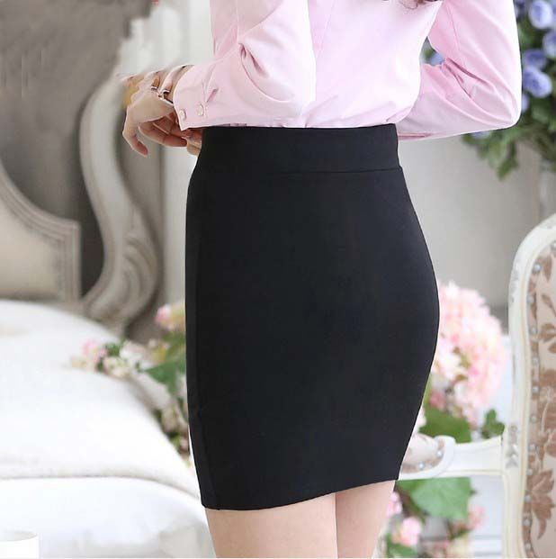 1 st 2016 lente en zomer Vrouwen Rok Hoge Taille Potlood Rokken Elastische Slanke Kantoor Zwarte Rok Twee stijlen