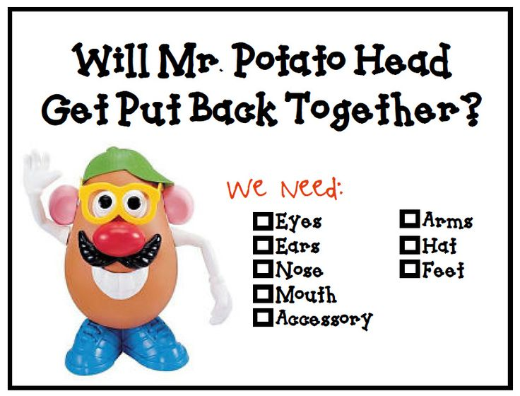 group or classroom management tool- could be used to go over expectations at beginning. Everyone's eyes looking at me (add Mr.Potato's eyes), everyone's ears are listening (add ears). If you notice a lot of a certain behavior, take the appropriate part off of Mr.Potato Head to symbolize what you need to make him whole/ continue the lesson