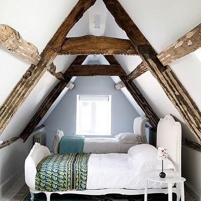 Reposting @charlottebothaminteriors: Small Attic #Bedroom  #Atticbedroom with twin #beds and exposed #rusticbeams in a carefully renovated Somerset #countryhouse - #design ideas on HOUSE - design, food and travel by House & Garden. http://crwd.fr/2yEyBOc #inspiration #interiordecor #interiordesign #design #instadecor #decor #ideas #homes #style #decorate #homedecor #interiors #trends #home #interiorstyling #decoration #interior #room #house #stylish #interiorstyle #bedroom