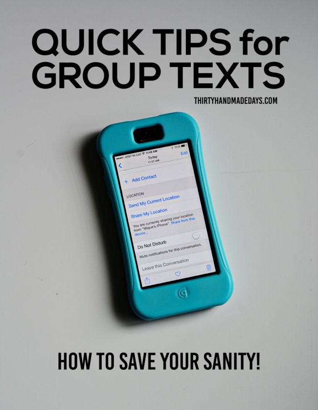 iPhone tips and tricks. These group text tips will save your sanity! www.thirtyhandmadedays.com