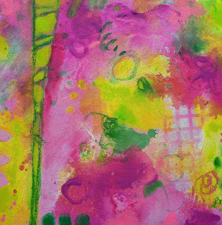 Girl Power by Tracy Bonin abstract art, abstract painting, canvas, acrylic, mixed media, pink, green, yellow, purple, modern art, contemporary art, home decor, breast cancer awareness