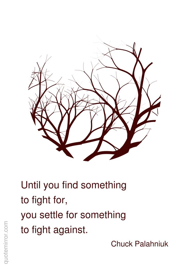 Until you find something to fight for, you settle for something to fight against.  –Chuck Palahniuk #effort #positive http://quotemirror.com/s/m3rvc